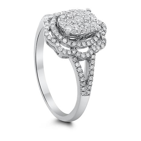 Diamond Couture 14K White Gold 0.5ctw Diamond Floral Ring
