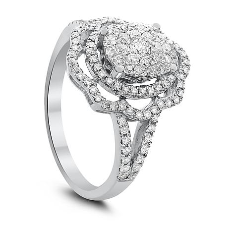 Diamond Couture 14K White Gold 0.75ctw Diamond Floral Ring