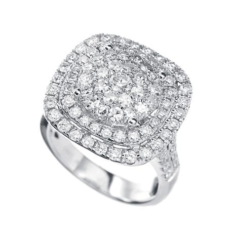 Diamond Couture 14K White Gold 2.03ctw Diamond Framed Cushion Ring