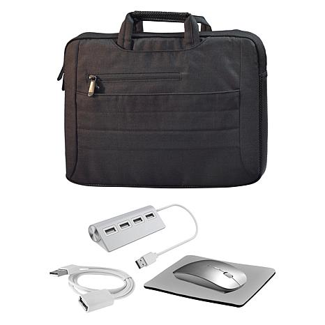 """Digital Basics 14"""" 2-in-1 Laptop Bag with Mouse and USB Hub"""
