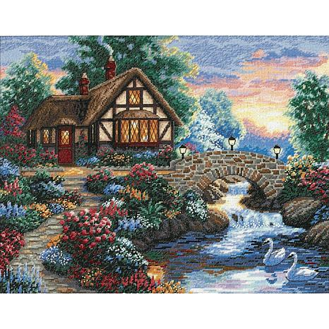 Dimensions/Gold Collection Counted Cross Stitch Kit 14X11 - Twilight Bridge  (18 Count)