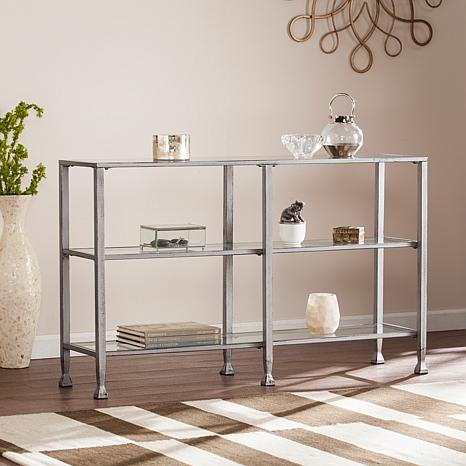 Dina Metal/Glass 3-Tier Console Media Stand - Silver