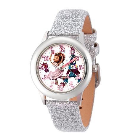 Disney Fancy Nancy Kid's Silvertone Glitter Strap Watch