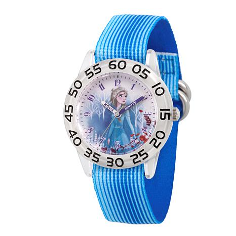 Disney Frozen 2 Elsa Kids' Clear Watch with Blue Stripe Strap