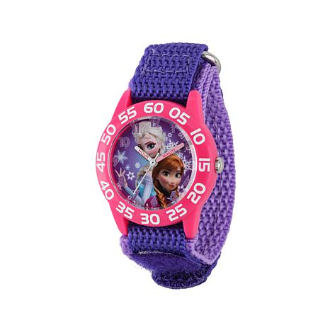 "Disney Frozen ""Anna and Elsa"" Kid's Purple Strap Time-Teacher Watch"