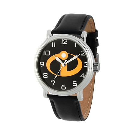 Disney Incredibles Silvertone Watch with Black Leather Strap