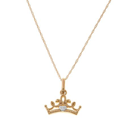 Disney Kids 14K 2-Tone Crown Pendant with Chain