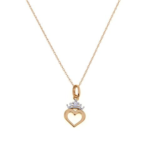 Disney Kids 14K 2-Tone Heart Crown Pendant-Necklace