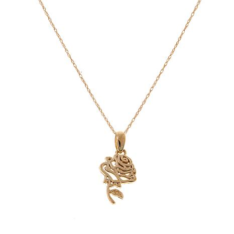 "Disney Kids 14K Rose Pendant with 13"" Chain"