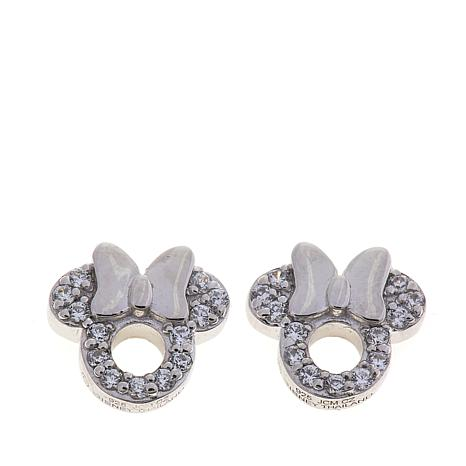 Disney Kids CZ-Lined Minnie Mouse Cut-Out Sterling Silver Stud Earr...