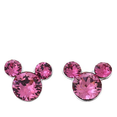 Disney Kids Pink Crystal Mickey Mouse Sterling Silver Stud Earrings