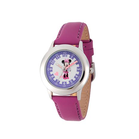 Disney Minnie Mouse Kid's Purple Leather Strap Time-Teacher Watch