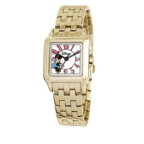 Disney Women's Minnie Mouse Goldtone Square Dial Bracelet Watch