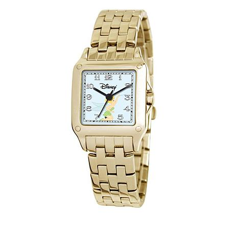 Disney Women's Tinker Bell Goldtone Square Dial Bracelet Watch