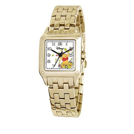 Disney Women's Winnie the Pooh Goldtone Square Dial Bracelet Watch