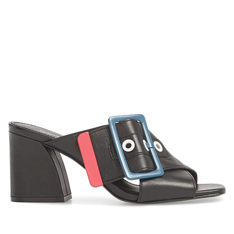Donald J. Pliner Whit Leather X-Band Buckle Mule