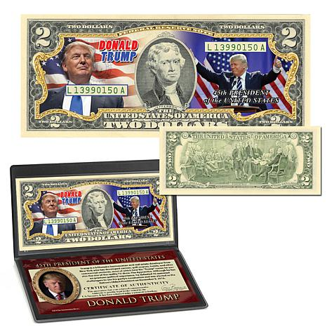 """Donald Trump 45th President"" Colorized $2 Bill"