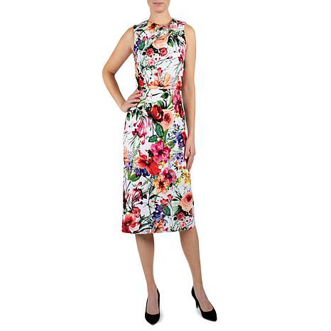 Donna Ricco Assymetrical Floral Knee Length Sheath Dress