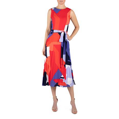 Donna Ricco Crepe Round Neck Midi Printed Dress