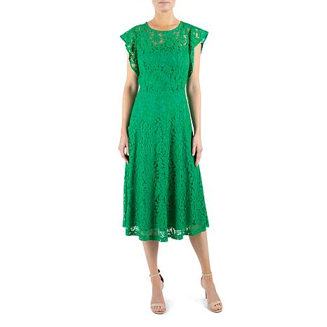 Donna Ricco Lace Midi Dress with Flutter Sleeve and Butterfly Back
