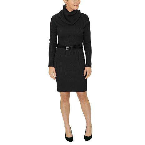 Donna Ricco Long-Sleeve Turtleneck Sweater Dress With Belt