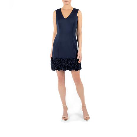 Donna Ricco Sleeveless Ruched Hem Cocktail Dress