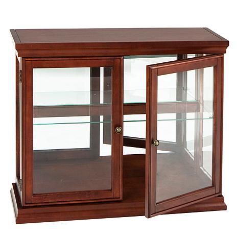 doubledoor curio with mahogany finish