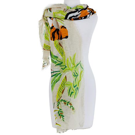 Echo Tropical Tiger Embroidered Scarf