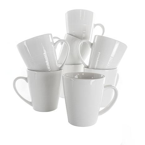 Elama Amie 8 Piece 12 Ounce Porcelain Mug Set in White