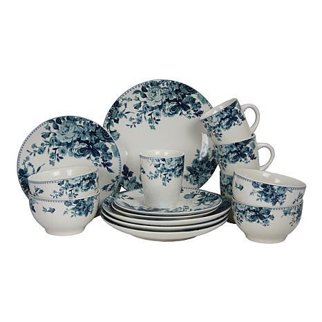 Elama Blue Rose 16-piece Dinnerware Set  sc 1 st  HSN.com & Elama Blue Rose 16-piece Dinnerware Set - 8524116 | HSN