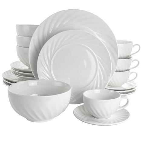 Elama Deluxe Clancy 20 Piece Porcelain Dinnerware Set in White