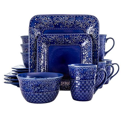 Elama Indigo Lotus 16 Piece Square Stoneware Dinnerware Set