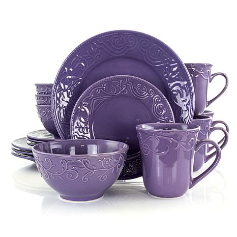 Elama Lilac Fields 16-piece  Dinnerware Set
