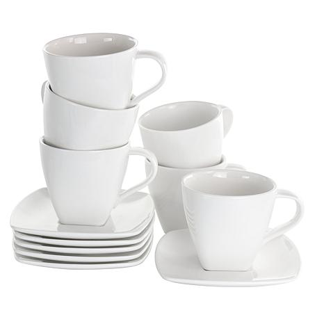 Elama Market Square 12 Piece Porcelain Cup and Saucer Set in White