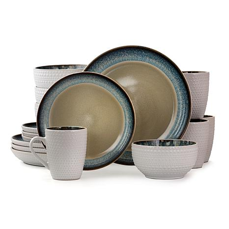 Elama Modern Dot 16 Piece Stoneware Dinnerware Set in Taupe with Bl...