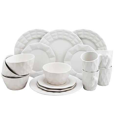 Elama Retro Chic 16-piece Glazed Dinnerware Set - White