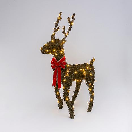 Electric Brown PVC Reindeer w/Warm White LED Lights & Red Velvet Bow