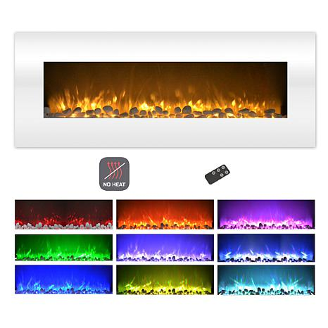 Electric Fireplace Wall Mount Color Changing Led No Heat 50