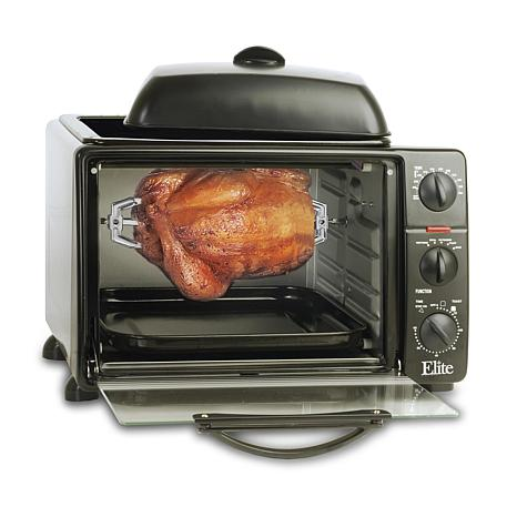 Elite Cuisine 0.8Cu. Ft. Toaster Oven w/ Rotisserie & Griddle Oven ...
