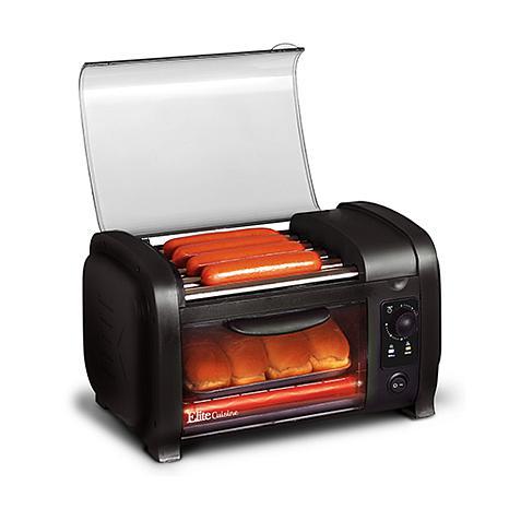 Elite Cuisine Black Hot Dog Roller and Toaster Oven