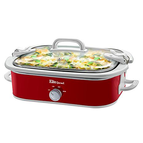 Elite Gourmet 3.5-Quart Casserole Slow Cooker with Locking Lid