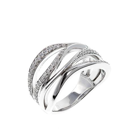 "ELLE ""Ocean"" Pavé CZ Wave Open Space Sterling Silver Ring"