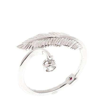 "ELLE ""Plume"" Feather and CZ Sterling Silver Wrap Ring"