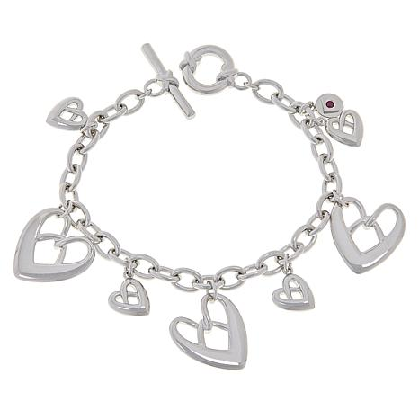 ELLE Sterling Silver Heart Charm Bracelet with Toggle Closure