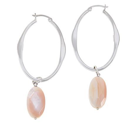 ELLE Sterling Silver Oval Hoop Earrings with Pink Shell Drops