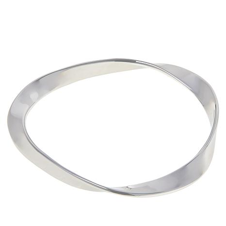 ELLE Sterling Silver Wavy Bangle Bracelet