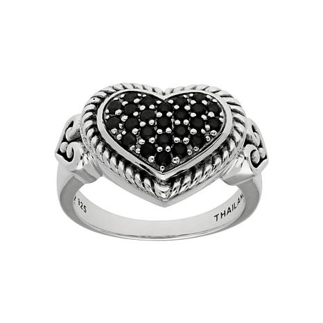 Elyse Ryan Sterling Silver Black Spinel Heart Ring