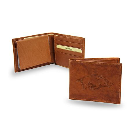Embossed Leather Billfold Wallet - University of Arkansas