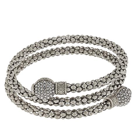 Emma Skye Crystal-Accented Popcorn Chain Coil Wrap Bracelet