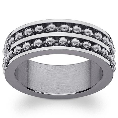 Engraved Ball Bead Stainless Steel Spinner Band